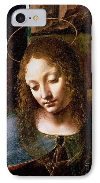 Detail Of The Head Of The Virgin IPhone Case by Leonardo Da Vinci
