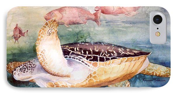 IPhone Case featuring the painting Determined - Loggerhead Sea Turtle by Roxanne Tobaison