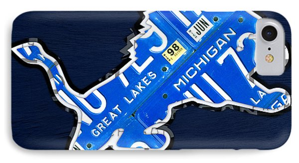 Detroit Lions Football Team Retro Logo License Plate Art IPhone Case by Design Turnpike