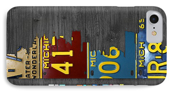 Detroit Michigan City Skyline License Plate Art The Motor City IPhone Case by Design Turnpike