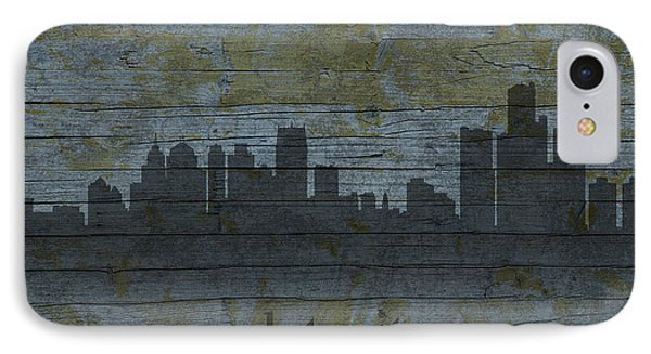 Detroit Michigan City Skyline Silhouette Distressed On Worn Peeling Wood IPhone Case by Design Turnpike