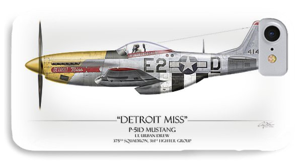 Detroit Miss P-51d Mustang - White Background Phone Case by Craig Tinder