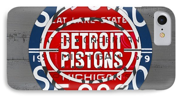 Detroit Pistons Basketball Team Retro Logo Vintage Recycled Michigan License Plate Art IPhone Case