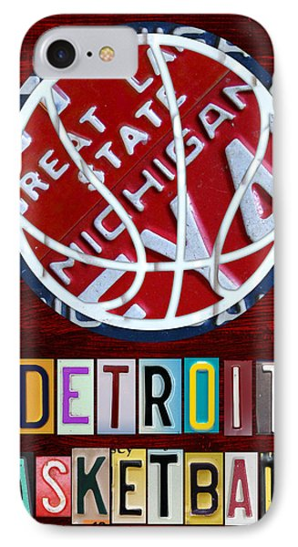 Detroit Pistons Basketball Vintage License Plate Art IPhone Case by Design Turnpike