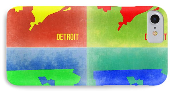 Detroit Pop Art Map 2 IPhone Case by Naxart Studio
