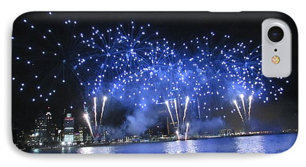 Detroit River Fireworks Phone Case by Michael Rucker