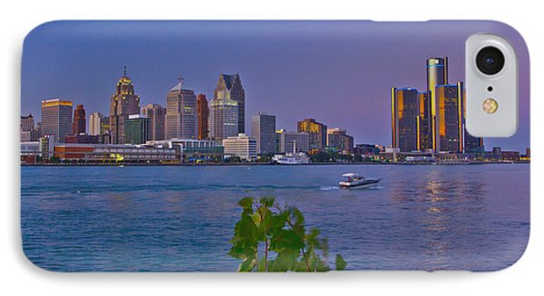 Detroit Skyline At Twilite With Boat IPhone Case