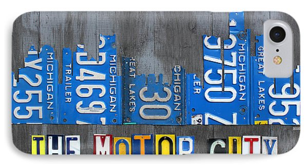 Detroit The Motor City Skyline License Plate Art On Gray Wood Boards  IPhone Case by Design Turnpike
