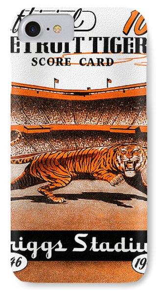 Detroit Tigers 1946 Scorecard IPhone Case by Big 88 Artworks