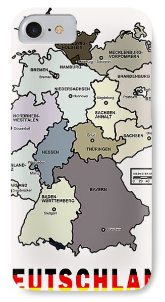 Deutschland Map IPhone Case