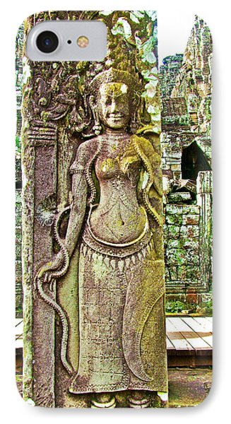Devata Or Hindu Goddess In The Bayon Of Angkor Wat Archeological Park Near Siem Reap-cambodia  IPhone Case by Ruth Hager