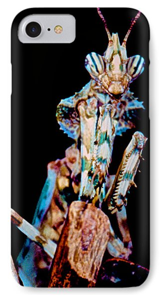 Devil Flower Mantis Phone Case by Leslie Crotty
