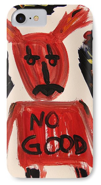 devil with NO GOOD tee shirt Phone Case by Mary Carol Williams