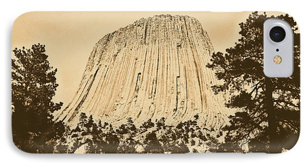 Devils Tower National Monument Between Trees Wyoming Usa Rustic Phone Case by Shawn O'Brien