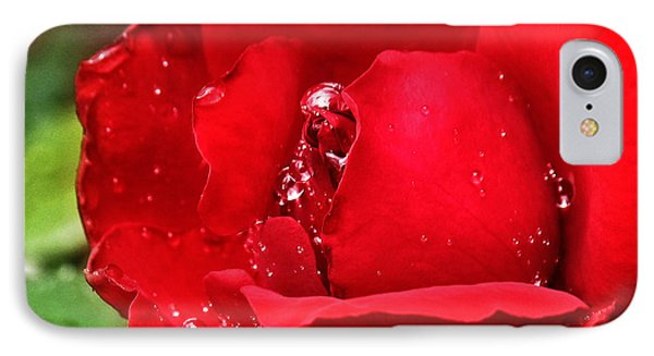 IPhone Case featuring the pyrography Dew Drops On Red by Rebecca Davis