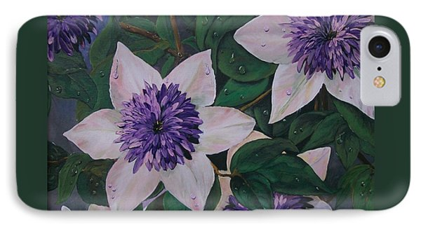 IPhone Case featuring the painting Clematis After The Rain by Sharon Duguay