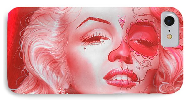 Marilyn Monroe - ' Dia De Los Monroe ' IPhone Case by Christian Chapman Art