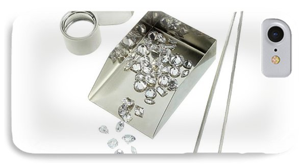Diamonds And Gemology Tools IPhone Case by Science Photo Library