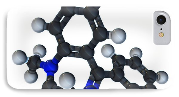 Diazepam Molecular Model Phone Case by Evan Oto