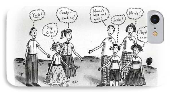 Dick, Jane & Sally Meet The Bobbsy Twins IPhone Case by Roz Chast