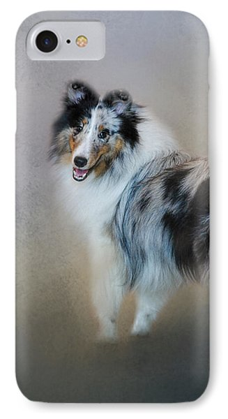 Did You Call Me - Blue Merle Shetland Sheepdog IPhone Case by Jai Johnson