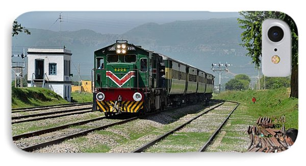 IPhone Case featuring the photograph Diesel Electric Locomotive Speeds Past Student by Imran Ahmed