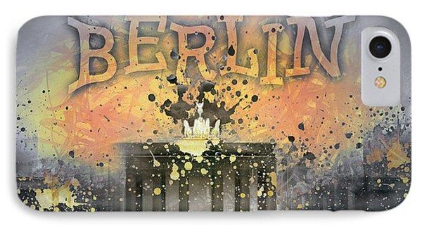 Digital-art Brandenburg Gate I IPhone Case by Melanie Viola