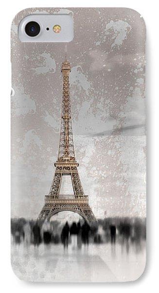Digital-art Eiffel Tower II IPhone Case by Melanie Viola