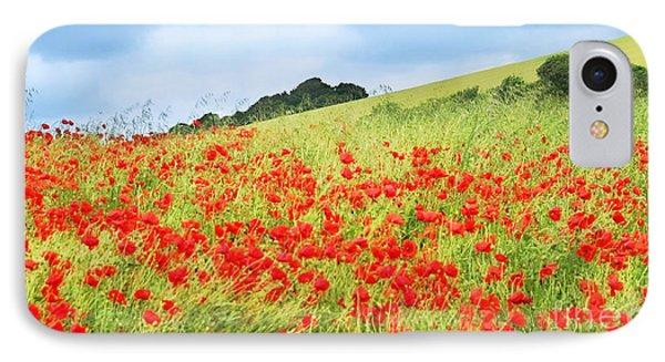 Digital Art Field Of Poppies Phone Case by Natalie Kinnear