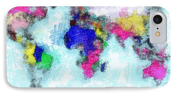 Digital Art Map Of The World IPhone Case by Georgi Dimitrov