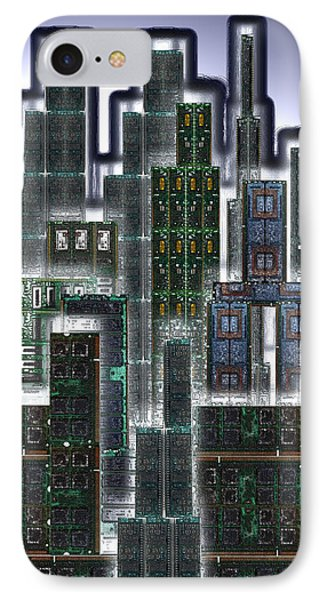 Digital Circuit Board Cityscape 3d - Glow Phone Case by Luis Fournier