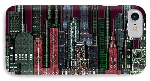 Digital Circuit Board Cityscape 5b - Wine Sky Phone Case by Luis Fournier