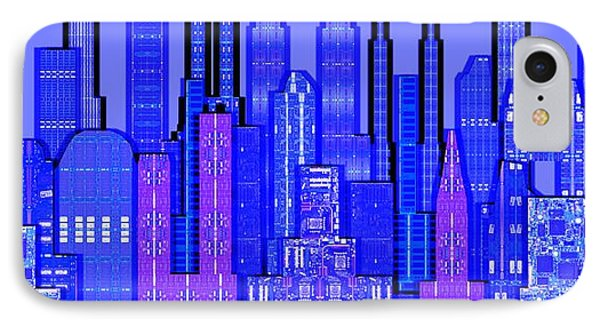 Digital Circuit Board Cityscape 5c - Blue Haze Phone Case by Luis Fournier