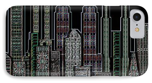 Digital Circuit Board Cityscape 5d - Blacktops Phone Case by Luis Fournier