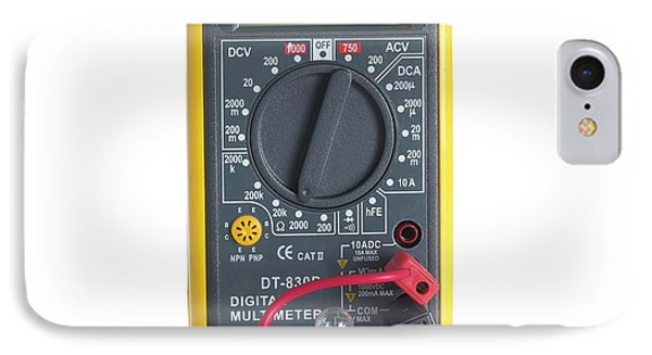 Digital Multimeter With Lightbulb IPhone Case by Science Photo Library