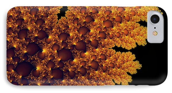 Digital Warm Golden Fractal Leaf Black Background IPhone Case by Matthias Hauser