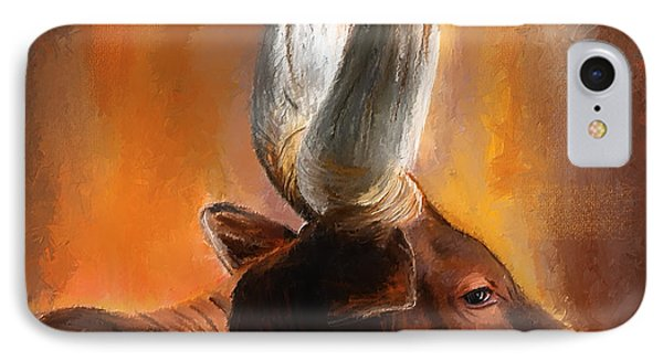 Dignified Pose- Texas Longhorn Paintings IPhone Case by Lourry Legarde