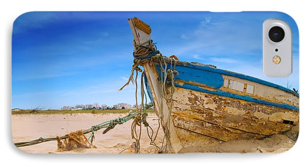Dilapidated Boat At Ferragudo Beach Algarve Portugal Phone Case by Amanda Elwell