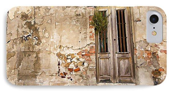 Dilapidated Brown Wood Door Of Portugal II Phone Case by David Letts
