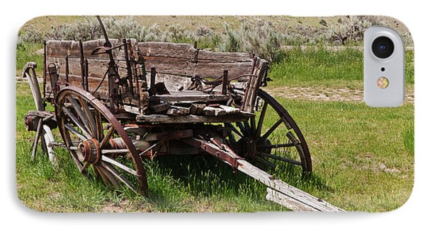IPhone Case featuring the photograph Dilapidated Wagon With Leaning Wheels by Sue Smith