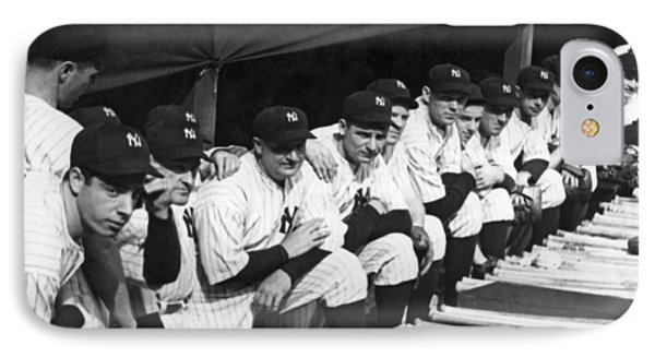 Yankee Stadium iPhone 7 Case - Dimaggio In Yankee Dugout by Underwood Archives