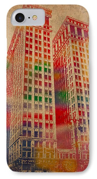 Dime Building Iconic Buildings Of Detroit Watercolor On Worn Canvas Series Number 1 IPhone Case