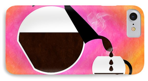 Diner Coffee Pot And Cup Sorbet Pouring Phone Case by Andee Design