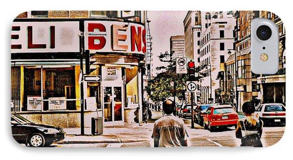 Dinner For Two Ben's Restaurant Downtown Scenes Montreal Memories Corner De Maisonneuve Phone Case by Carole Spandau