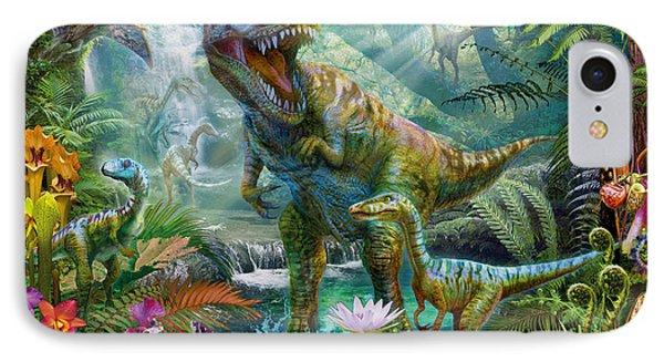 Dino Jungle Scene IPhone Case by Jan Patrik Krasny