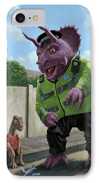 Dinosaur Community Policeman Helping Youngster Phone Case by Martin Davey