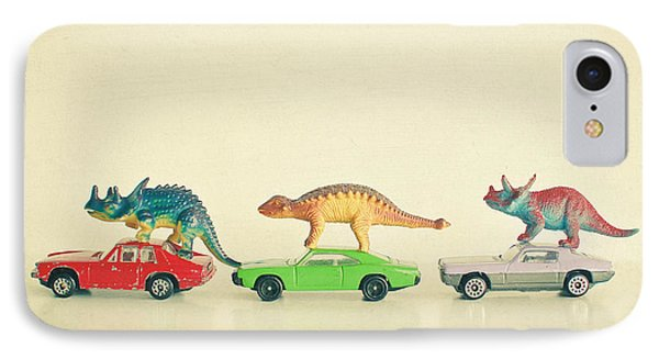 Dinosaur iPhone 7 Case - Dinosaurs Ride Cars by Cassia Beck