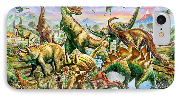 Dinoscene   IPhone Case by Adrian Chesterman