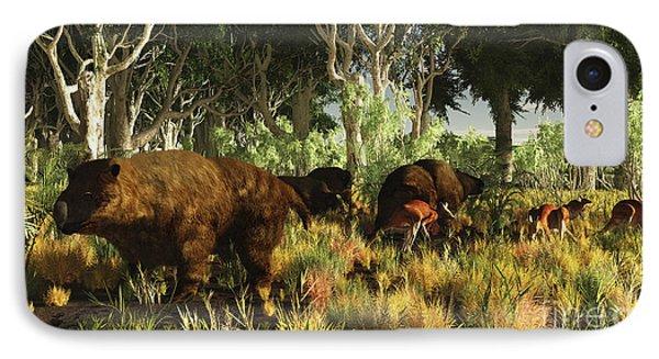 Diprotodon On The Edge Of A Eucalyptus IPhone Case by Arthur Dorety