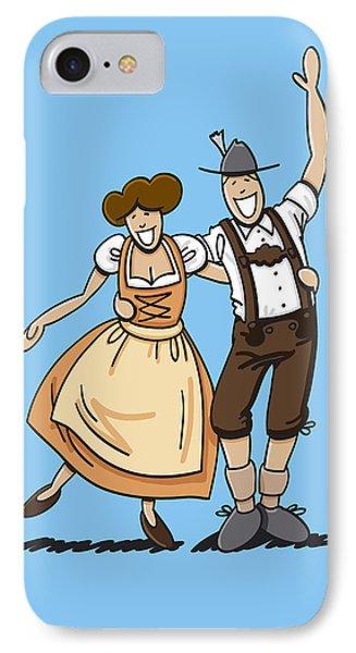 Dirndl And Lederhosen Couple Hugging IPhone Case by Frank Ramspott